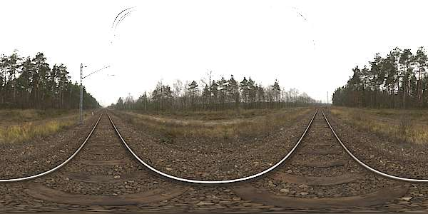 Panorama HDR HDRi lightprobe panoramic high dynamic range spherical 360 outdoor clouded overcast railroad rails train track forest trees Poland TexturesCom_Pano047