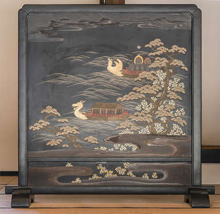 painting old asia ornament ornate screen japan