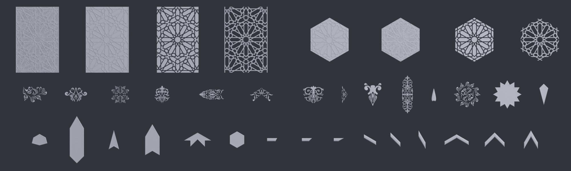 3D Ornament Kitbash Set - Moorish 10