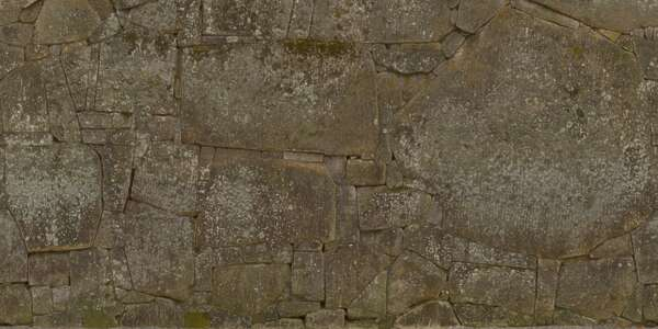 6.8x3.4m scan scanned worn out blocks cobblestone medieval japan wall mossy