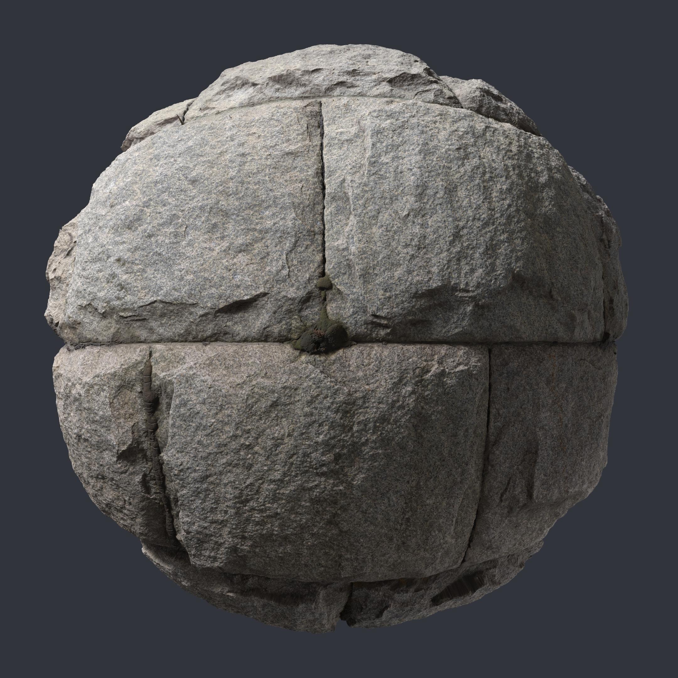 3d Scanned Granite Stone Wall 3x3 Meters