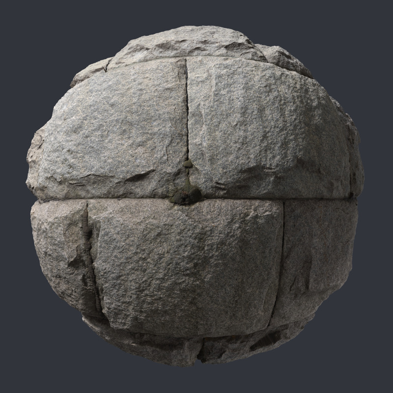 3D Scanned Granite Stone Wall