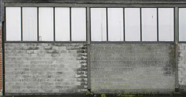 brick modern large building facade industrial wall windows