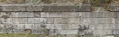 brick large medieval blocks damaged weathered