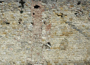 brick medieval rounded old castle wall