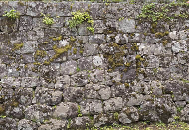 japan brick medieval mossy old weathered castle wall