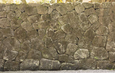 japan brick medieval mossy groutless old weathered castle wall