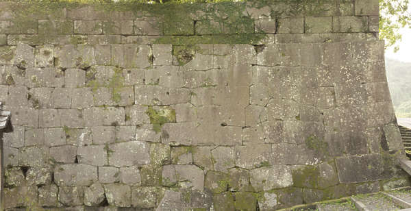 brick bricks medieval old castle wall Japan Japanese mossy