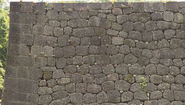 brick bricks medieval old castle wall Japan Japanese boulders