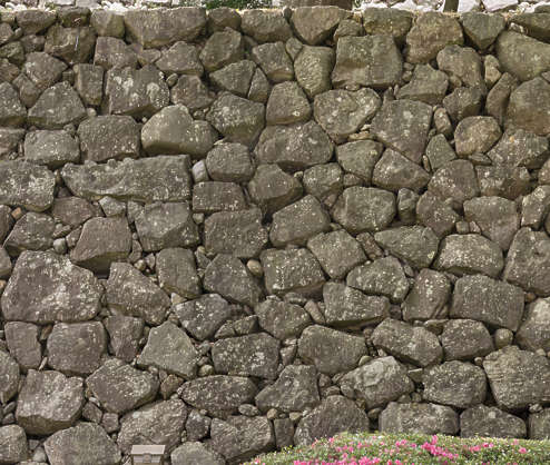 brick bricks medieval old castle wall Japan Japanese boulders groutless