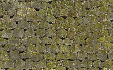 brick bricks medieval old castle wall Japan Japanese moss mossy boulders groutless