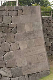 brick bricks medieval old castle wall Japan Japanese