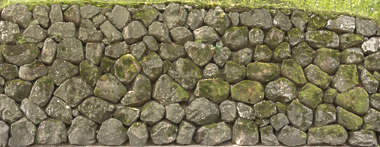 brick bricks medieval old castle wall Japan Japanese moss mossy boulders groutless stacked