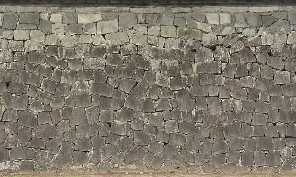 brick bricks medieval old castle wall Japan Japanese groutless