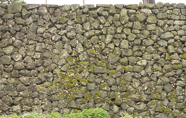 brick bricks medieval old castle wall Japan Japanese boulders moss mossy