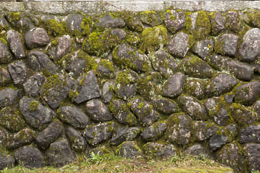 bricks old japan mossy stones stacked medieval round rounded