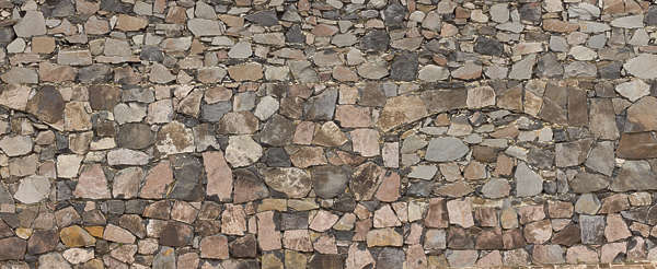 brick rounded medieval mixed size old groutless