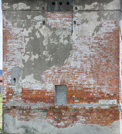 brick small modern plaster damaged building old