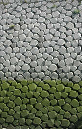 brick round rounded wall water moss