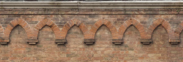 venice italy brick modern weathered old damaged ornament arches decor cornice