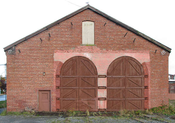 building barn facade door doors train station