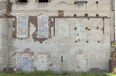 wall facade plaster old derilict window windows bricks
