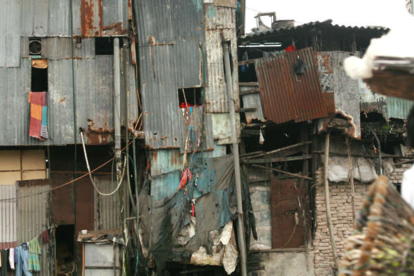india building facade slum old