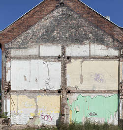 building derelict demolished facade
