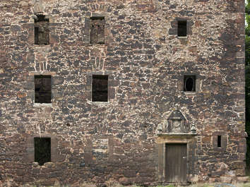brick medieval building facade derelict old UK