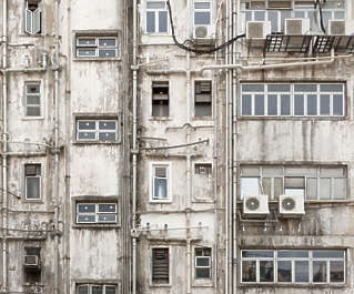 hong kong building old derilict window windows dirty old