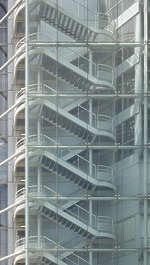 building highrise facade staircase glass