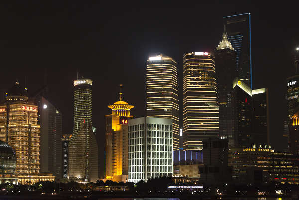china skyscraper highrise landscape urban asian asia background skyline night nighttime