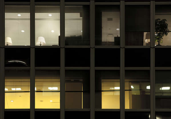 building highrise high rise new york facade office window night