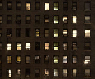 building highrise high rise new york facade night