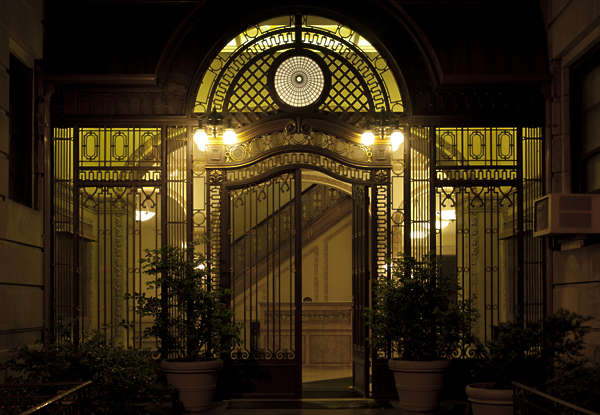 building facade lobby entrance night