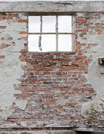 building facade derelict plaster brick bricks window windows