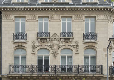 building old facade windows belgium ornate neo classical balcony