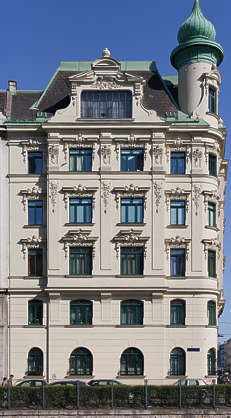 vienna austria building facade residential house tenement ornate neoclassical