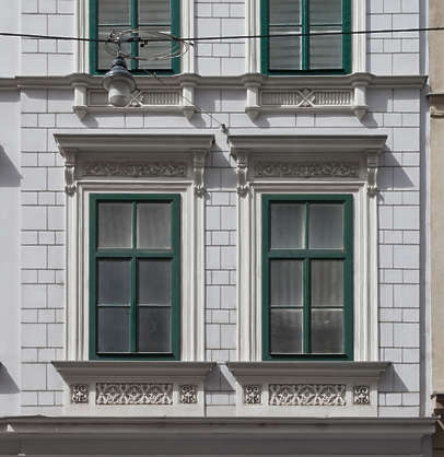 windows ornate wooden tenement neoclassical