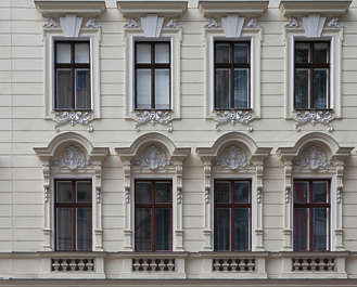 vienna austria building facade tenement ornate neoclassical