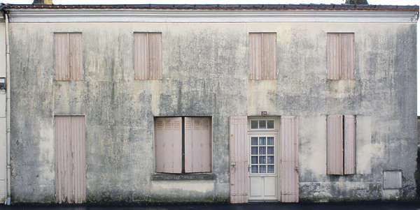 facade house old plaster window windows shutters building