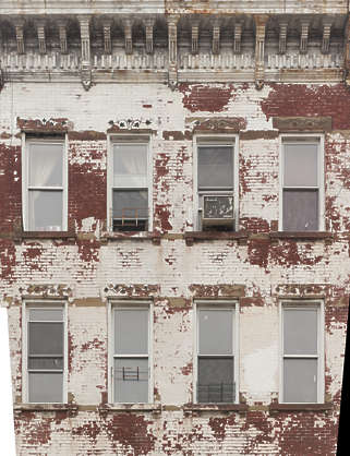 new york ny united states usa building facade weathered derelict old residential house
