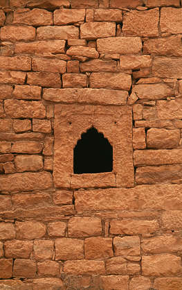 india brick mixed size medieval old window