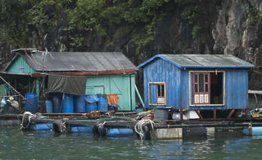 china shanty town floating houses slum