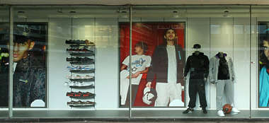 building facade store shop storefront window shopping sports