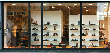 building facade store shop storefront window shopping shoe shoes