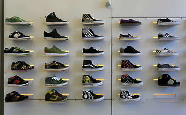 building facade store shop pane window storefront shopping shoes shoe