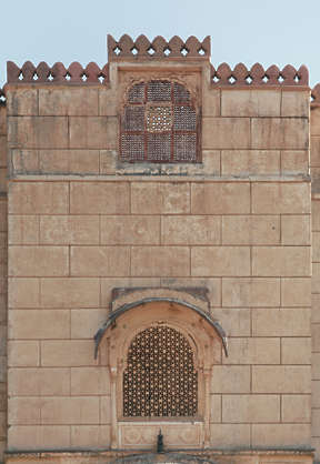 india brick facade building window windows castle