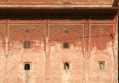 india plaster wall facade window windows colored