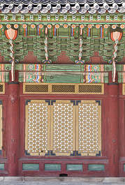 south korea temple buddhist ornate facade building window shutter shutters windows old
